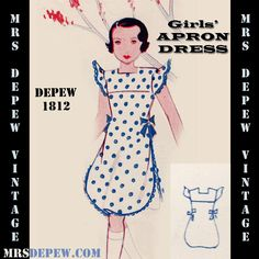 Vintage Sewing Pattern 1930's Girls' Apron Dress Any Size Depew 1812 Draft at Home Pattern -INSTANT DOWNLOAD- by Mrsdepew on Etsy https://www.etsy.com/listing/129638543/vintage-sewing-pattern-1930s-girls-apron
