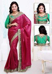 Dark Pink Color Wrinkle Crepe Jacquard Festival & Function Wear Sarees : Navnita Collection  YF-41515