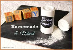 Natural homemade baby powder is perfect for those delicate baby rolls that are so difficult to keep clean and dry. This powder smells great and is fun to make!