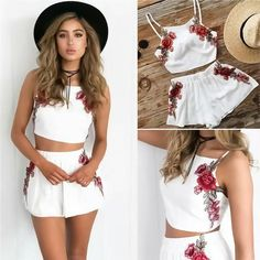 93b56d7fb3e Summer Women Flower Embroidered Crop Top Shorts Casual Outfit Set Party  Clubwear