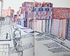 Sketchbook pages – Old Montague St, March 1964.- Alfred Daniels
