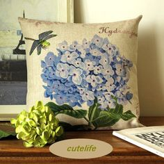 Cutelife 2008  Cotton Linen Decorative Throw Pillow Cover  Hydrangea Blue >>> You can find out more details at the link of the image.