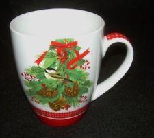 Mary Lake-Thompson Chickadee Pinecones Christmas 14 oz Porcelain Mug