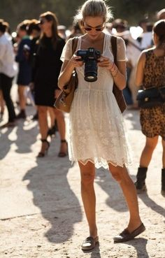 white lace dress,moccasins and a good camera/tourist outfit
