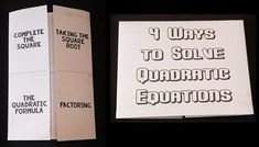 This foldable shows 4 ways to solve Quadratic Equations: Complete the Square, Factoring, Taking the Square Root and the Quadratic Formula. This is 2-page PDF foldable document. The foldable could also be used as a graphic organizer. I have made 2 different versions to accommodate those that have printers that will automatically print double sided and those that manually print double sided.