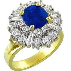 2.29ct_Sapphire_Diamond_Gold_Ballerina_Ring | New York Estate Jewelry | Israel Rose