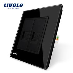 Manufacture Livolo, Black Crystal Glass Switch Panel, 2 Gangs Wall Tel and Com Socket / Outlet VL-C791TC-12 Without Plug adapter
