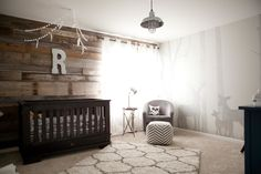 Look at this beautiful wall, done in shadows.  This would have been prettier with white furniture.  Project Nursery - Rustic Nursery Deer Nursery, Nursery Rugs, Rustic Nursery, Nursery Themes, Nursery Neutral, Wood Wall Nursery, Girl Nursery, Deer Themed Nursery, Brown Nursery