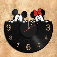 GeoArtCrafts - Mickey and Minnie Wall Clock Vinyl Record Clock