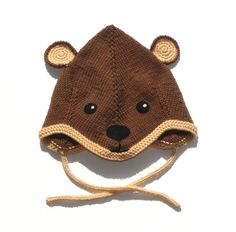 Brown knitted baby hat baby pilot hat brown bear hat by Tuttolv, $20.00