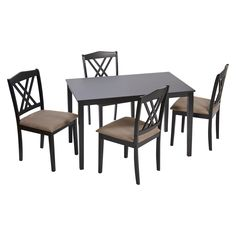 TMS 5 Piece Double Cross Back Dining Set - Black : Target $289.99