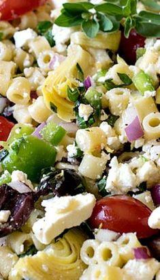 Mediterranean Pasta Salad - A Family Feast® - Kimberly Mitchell Salad Recipes Mediterranean Pasta Salads, Mediterranean Diet Recipes, Mediterranean Salad Dressing, Vegetarian Recipes, Cooking Recipes, Healthy Recipes, Cooking Tips, Vegetarian Pasta Salad, Healthy Pasta Salad