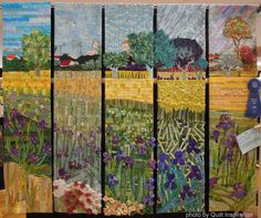 """View of Arles With Irises, 80 x 65"""", made and quilted by The Fab 5 Group. First Place, Group Quilt-Large, 2014 River City Quilters' Guild Show.  Photo by Quilt Inspiration"""