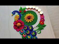 Peacock rangoli designs for gudi padava/satisfying Sand art Rangoli Designs Peacock, Rangoli Designs Simple Diwali, Simple Rangoli Border Designs, Indian Rangoli Designs, Rangoli Designs Latest, Free Hand Rangoli Design, Small Rangoli Design, Colorful Rangoli Designs, Rangoli Ideas