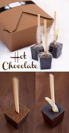 Supplies sticks (at least 5 inches long) piping bag or sandwich bag with 1/2″ corner cut off ice cube tray or deep candy mold, each cavity approximately 1 ounce Ingredients 9 oz. milk chocolate (not chips) 7 oz. semi-sweet chocolate (not chips) 1/2 c (1.5 oz) loosely packed cocoa 1 c (4.5 oz) loosely packed powdered sugar 1/8 tsp salt mini marshmallows