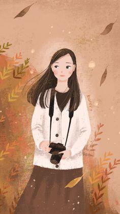 Autumn Illustration, Illustration Art Drawing, Cute Bear Drawings, Art Drawings, Cute Sketches, Digital Art Girl, Anime Art Girl, Cartoon Art, Cute Art