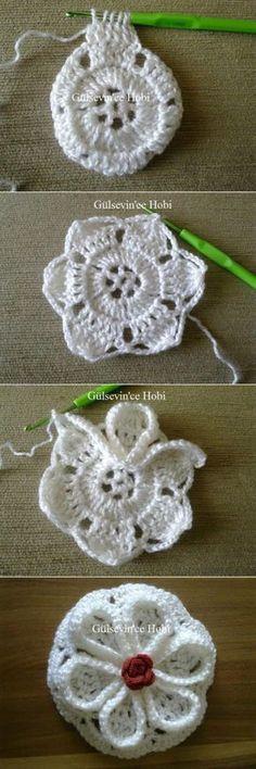 Crochet Flower – Step By Art Au Crochet, Crochet Motifs, Crochet Squares, Irish Crochet, Crochet Crafts, Crochet Stitches, Crochet Projects, Granny Squares, Crochet Flower Tutorial