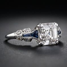 1.75 Carat Asscher-Cut Diamond Art Deco Ring