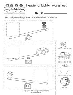 Which object is heavier? Kids have to determine which object is heavier by completing a simple heavy and light cut and paste activity. Children are asked to match the pictures of heavier objects with the pictures of lighter objects that appear on a scale. Christmas Worksheets Kindergarten, Pattern Worksheets For Kindergarten, Measurement Kindergarten, Measurement Worksheets, Math Worksheets, Lighter, Lesson Plans, Free Printable, Scale
