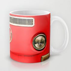 Summer of Love - Adventure Red Mug by Olivia Joy StClaire - $15.00 retro, vintage, Christmas red, festive, cute, volkswagen camper, coffee cup, coffee mug, holiday gift, stocking stuffer, VW