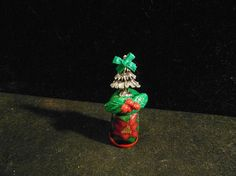 Unique pewter xmas tree atop new wooden thimble by THIMBLEMALUCA, $8.00