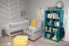 Project Nursery - Gray, Teal and Yellow Nursery with Modern Herringbone Accent Wall - Project Nursery Grey Yellow Nursery, Turquoise Nursery, Aqua Nursery, Nursery Neutral, Nursery Room, Nursery Ideas, Pink Grey, Nursery Decor, Bedroom Ideas