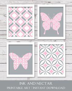 Printable Nursery Art Printable Art Set by inkandnectardigital