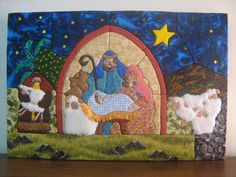 Artesanías: Pesebres (Patchwork sin aguja) Cortes Bob, Rococo, Christmas Art, Sheep, Quilts, Embroidery, Painting, Lambs, Google