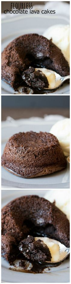 Flourless Chocolate Lava Cakes - A rich, decadent chocolate lava cake that's made without flour so it's naturally gluten free! The perfect dessert for the holidays or date night in.