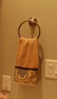 no sew embellished towel ...she use a hot glue gun and says it holds up in the washer and dryer...fantastic!