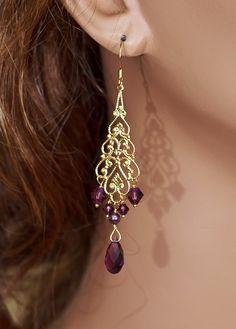 Bridal Earrings Gold Chandelier Earrings by OliniBridalJewelry, $28.00