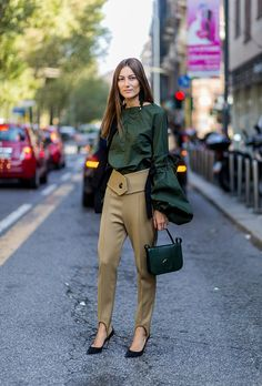 Browse the Best Street Style Outfits from Milan Fashion Week Spring 2017 at @StyleCaster | exaggerated sleeve blouse, khaki pants