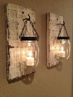 Splendid Rustic barn candle holders from mason jars. On Etsy but not challenging to make. The post Rustic barn candle holders from mason jars. On Etsy but not challenging t . Mason Jar Candle Holders, Mason Jar Candles, Mason Jar Crafts, Citronella Candles, Pot Mason, Wall Candle Holders, Rustic Candle Holders, Scented Candles, Flameless Candles