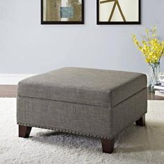 Better Homes and Gardens Grayson Linen Square Ottoman with Nailheads, Multiple Colors - Walmart.com