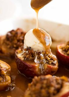 Sweet, plump, juicy Baked Apples that makes its own caramel sauce!! This is a terrific quick and easy dessert that can be assembled ahead.