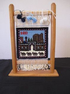 Miniature Woven Tapestry Rug Wood Frame Display Exotic Baki Rug Colorful Travel