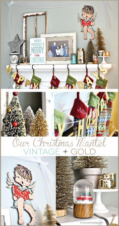 Our Christmas Mantel - with touches of vintage and gold.  A little peek into our home for the holidays with all the details for our mantel.  Plus a giveaway! #ad