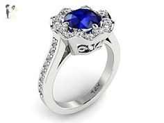 Diamonds And Blue Sapphire Engagement Ring, 14k White solid gold Ring, Flower Engagement Diamond Ring, Wedding Diamonds Bridal Ring, Diamonds Blue Sapphire Ring. - Wedding and engagement rings (*Amazon Partner-Link)