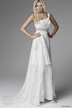blumarine wedding 2013 one shoulder drape grecian wedding dress ~ I love this dress, it looks amazing!!