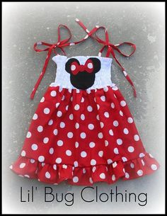 Minnie Mouse Red White Polka Dot Smocked Birthday Girl Dress