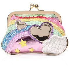 Over The Rainbow Purse ❤ liked on Polyvore featuring bags, handbags, pink bag, glitter handbags, glitter purse, gold glitter purse and gold glitter handbag