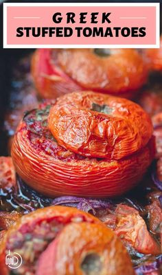 BEST stuffed tomatoes ever! Prepared Greek-style with a hearty, flavor-packed stuffing of ground meat and rice with warm spices, fresh herbs and good extra virgin olive oil. Mediterranean Dishes, Mediterranean Diet Recipes, Greek Dinners, Vegetable Drinks, Healthy Eating Tips, Healthy Food, Stuffed Tomatoes, Vegetable Dishes, Vegetable Casserole