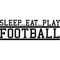 @Overstock - This beautiful vinyl applique applies to smooth surfaces like walls, glass and tile. Great for home, office, or as a gift, this easy-to-apply wall art adds interest to any decor.http://www.overstock.com/Home-Garden/Decorative-Sleep-Eat-Play-Football-Vinyl-Wall-Art/5724545/product.html?CID=214117 $29.19