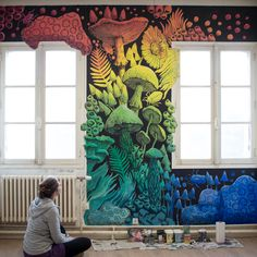 Mural Painting, Dédale, Vannes, Stéphanie Kilgast painting My Very First Mural Graffiti Art, Art Mural 3d, Murals Street Art, 3d Wall Art, Wall Murals, Wall Mural Painting, Street Wall Art, Wall Paintings, Arte Art Deco