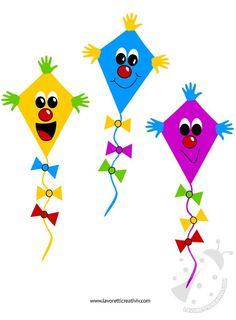 Aquiloni da realizzare con i cartoncini colorati e da attaccare ai vetri pdelle finestre dell'aula di scuola. Addobbi accoglienza scuola Aquiloni Materiale: Cartoncini colorati Forbici Colla N… Creative Arts And Crafts, Diy And Crafts, Crafts For Kids, Kites Craft, Art N Craft, Drawing For Kids, Art For Kids, Preschool Decor, Clay Art Projects
