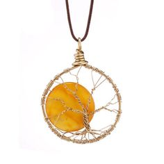 Gold Alloy Gemstone Moon Tree of Life Pendant Handmade Leather Necklace Jewelry…