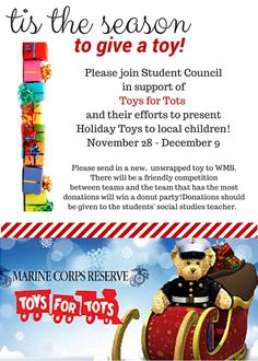 Toys For Tots, Student Council, Tis The Season, Effort, Competition, Seasons, Children, Holiday, Young Children