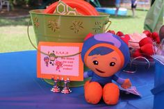 Umizoomi birthday party table sign cake