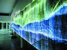 Wall piece by Atelier Kim Gottlieb: The Fiber Optics Fabric literally lights up (light emitting fabric); It is made of ultra-thin optical fibers, directly woven with synthetic fibers, specially processed in order to allow the light to be emitted along the full length of the fibers (side emitting fibers). The optical fibers are then connected at the edge of the fabric to ultra-bright LEDs which inject light into the fabric. The light is distributed evenly across the entire surface of the…