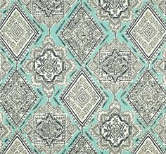 aqua blue gray italian tiles cotton fabric by the yard designer drapery curtains or upholstery - Home Decor Fabrics By The Yard